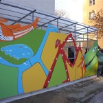 Výstavba mozaikovej steny, november 2016